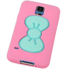 Butterfly Standing TPU Case for Galaxy S5 G900F Pink