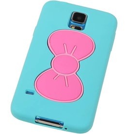 Butterfly Standing TPU Case for Galaxy S5 G900F Turquoise