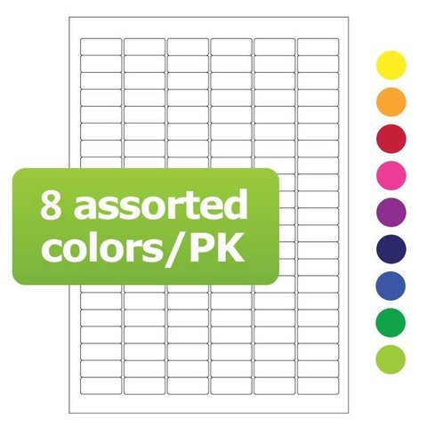 Cryo labels on sheets for laser printers 31.5mm x 13mm assorted colors (A4 format)
