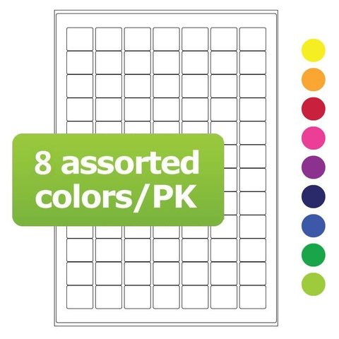Cryo labels on sheets for laser printers 25 x 22mm assorted colors (A4 format)