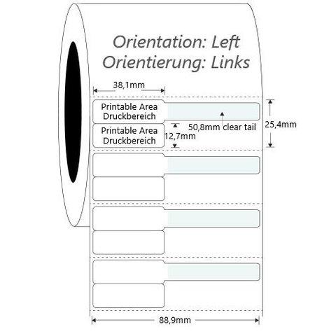 Syringe Labels - 38 x 25.4mm + 50.8mm / Thermal Transfer