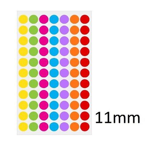 Gekleurde ronde Cryo-etiketten - Ø 11mm (voor 1,5ml microtubes / kleurenmix)