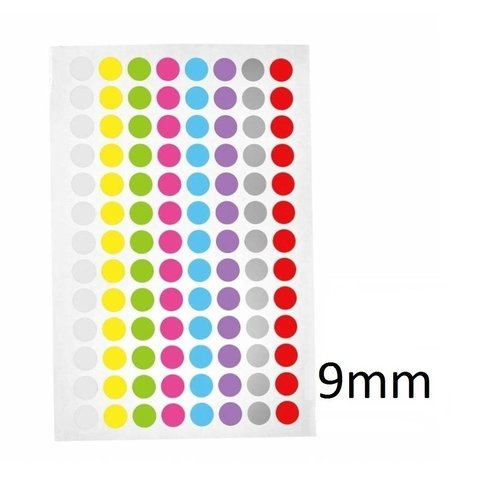 Gekleurde ronde Cryo-etiketten - Ø 9mm (0,5ml & 1,5ml microtubes / kleurenmix)