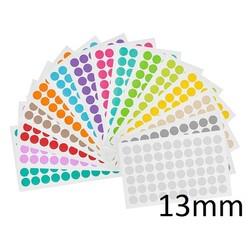 Gekleurde Ronde CryoEtikettenØ13mm (voor1,5mlmicrotubes) ** ASSORTI **