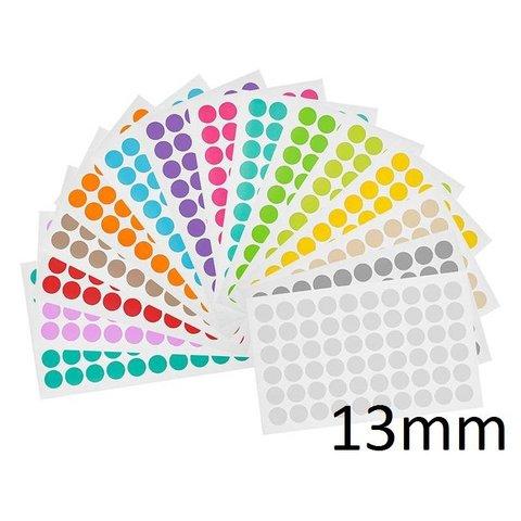 Gekleurde ronde Cryo-etiketten - Ø 13mm (voor 1,5ml microtubes / assorti)