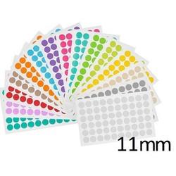 GekleurdeRondeCryo-EtikettenØ11mm (voor1,5mlmicrotubes) ** ASSORTI **