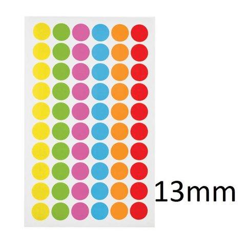 Gekleurde ronde Cryo-etiketten - Ø 13mm (voor 1,5ml microtubes / kleurenmix)