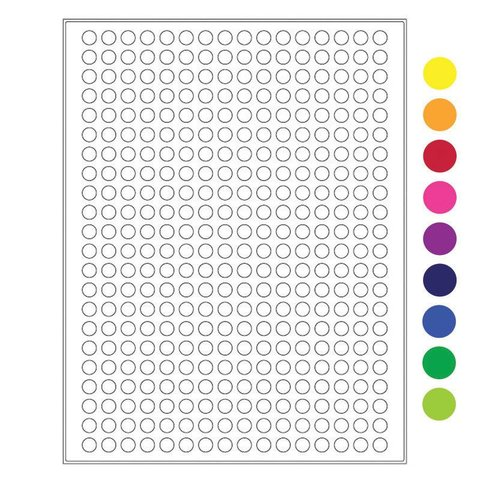 Kryo-Etiketten Auf Bögen - Ø 9mm (US-Letter-Format)