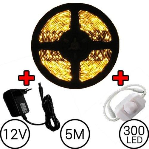 5 meter LED Strip Set Warm Wit Compleet met Dimmer