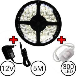 5 meter LED Strip Set Helder Wit Compleet met Dimmer