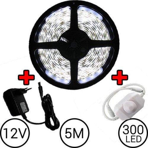 5 meter LED Strip Set Koud Wit Compleet met Dimmer