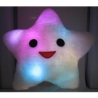 LED Kussen Happy Star roze of wit