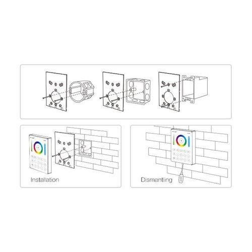 Milight / MiBoxer RGB+CCT Draadloos Wandpaneel 8-zones B8