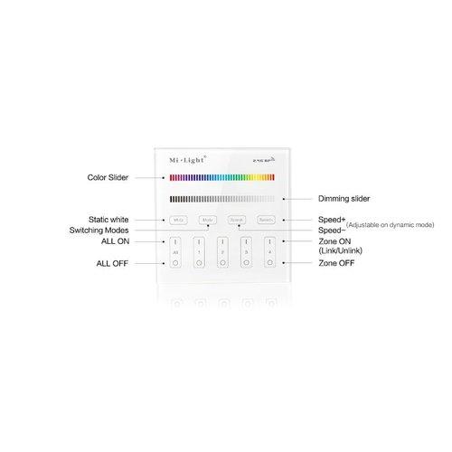 Milight / MiBoxer 2.4GHz Wandpaneel voor RGB en RGBW LED Strips