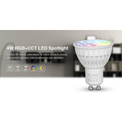 Milight 4 Watt RGB + Warm Wit en Koud Wit GU10 CCT Dual White Inbouw Spot