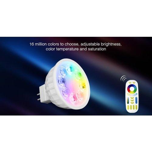 Milight / MiBoxer 4 Watt 12 Volt RGB + Warm Wit en Koud Wit MR16 CCT Dual White Inbouw Spot