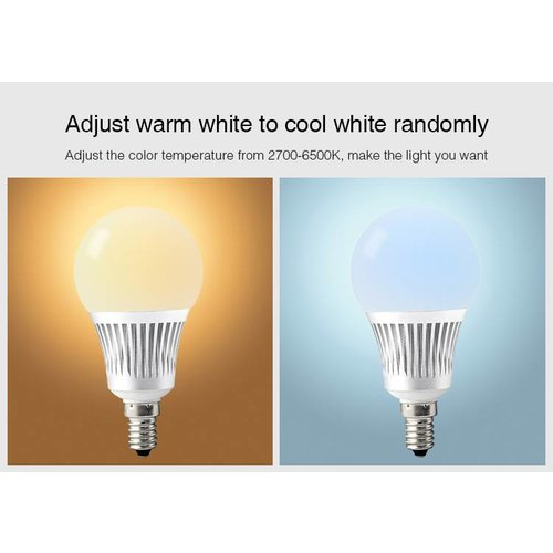 Milight / MiBoxer 5 Watt RGB + Warm Wit en Koud Wit E14 CCT Dual White Lamp