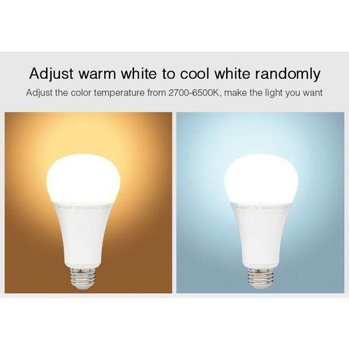Milight / MiBoxer 12 Watt RGB + Warm Wit en Koud Wit E27 CCT Dual White Lamp