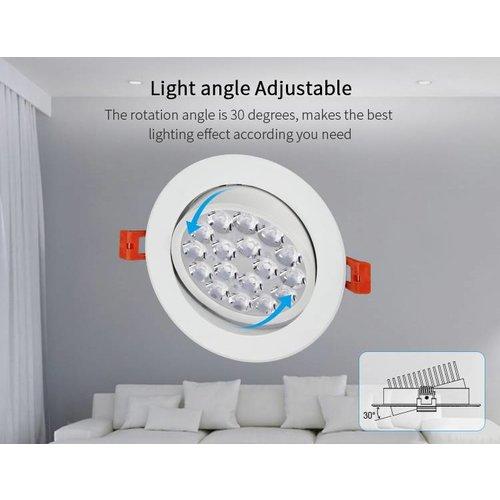 Milight / MiBoxer 9 Watt RGB + Warm Wit + Koud Wit  CCT kantelbare downlight Dual White