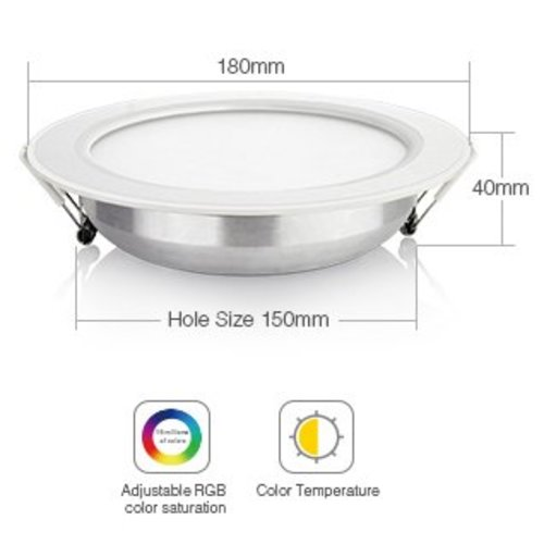 Milight / MiBoxer 12 Watt RGB + Warm Wit + Koud Wit CCT Downlight Dual White