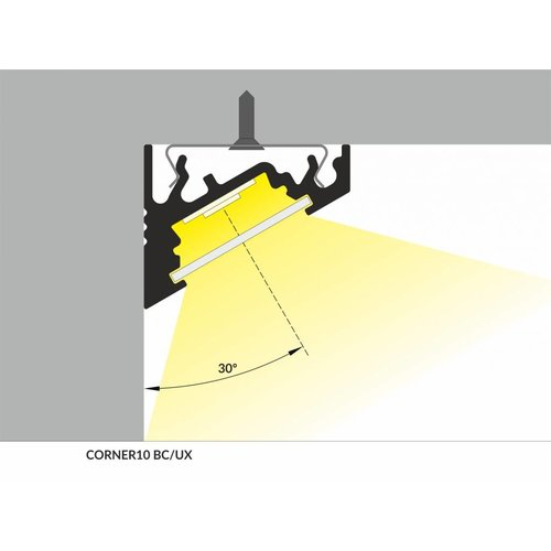 TOPMET Aluminium hoek profiel 1 meter 60/30 graden CORNER10