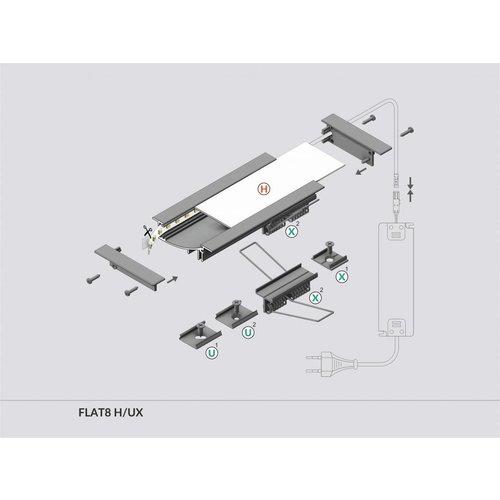 TOPMET Aluminium inbouw profiel met verticale schijnhoek Flat8