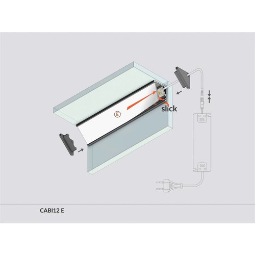 TOPMET Aluminium hoek profiel 1 meter met groot schijnvlak CABI12