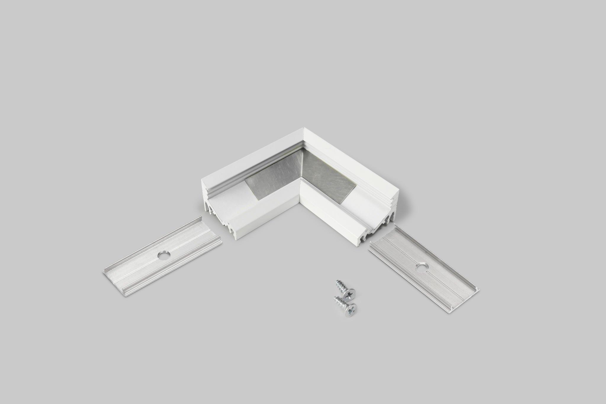 hoek connector voor led profiel wit gelakt