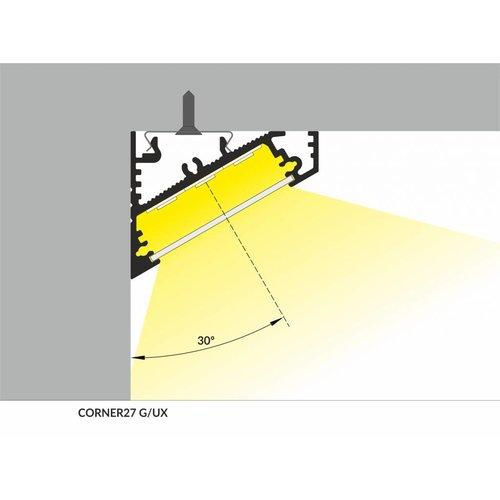 TOPMET XL 27mm Aluminium hoek profiel 1 meter 60/30 graden Corner27