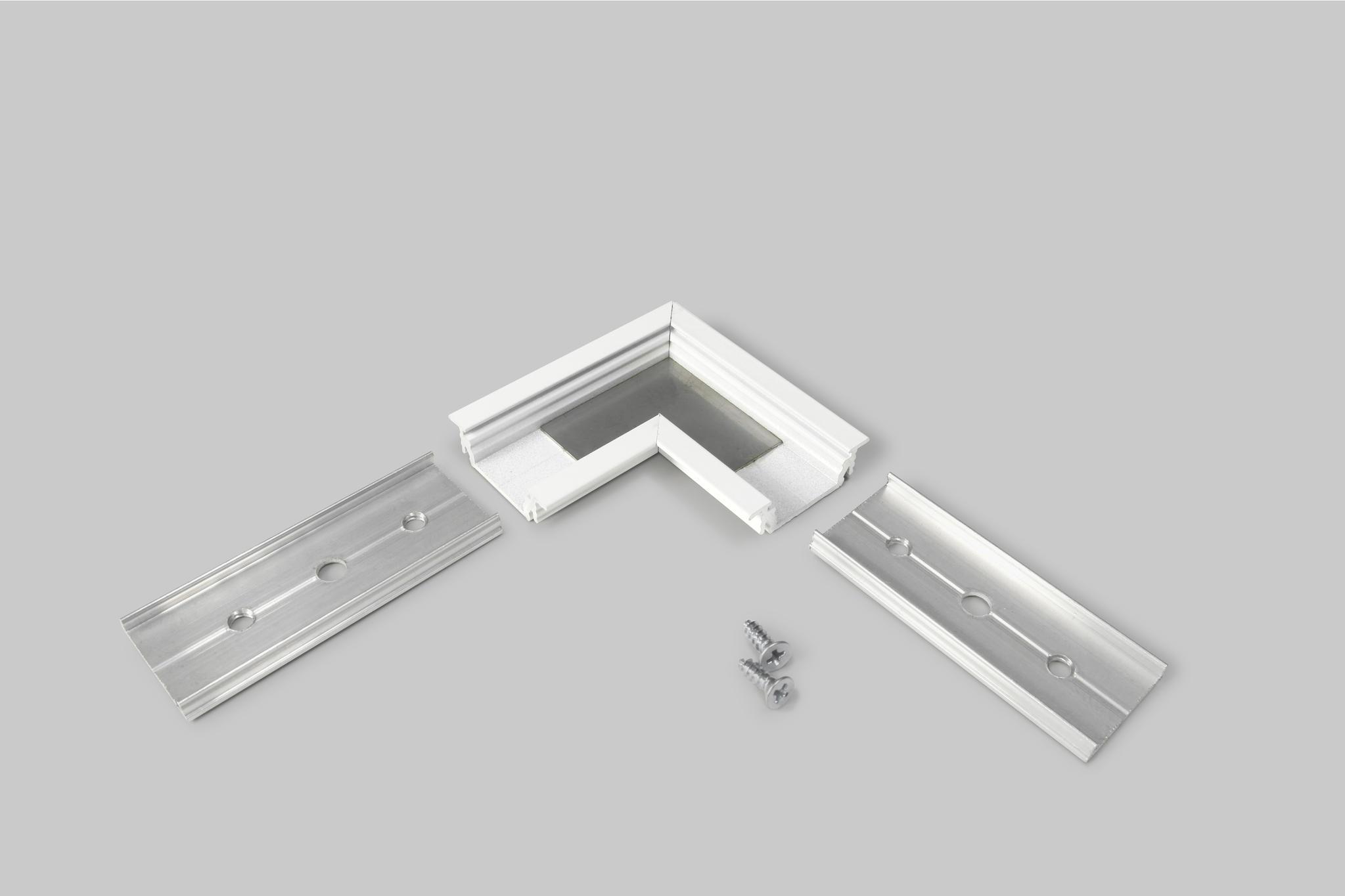 Inbouw profiel 14mm hoek-connector wit