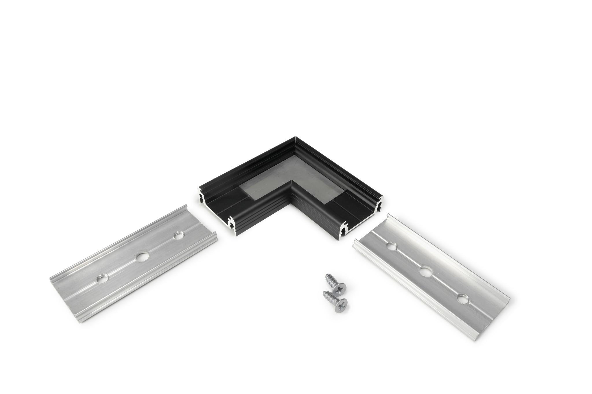 Hoekconnector voor opbouw profiel zwart