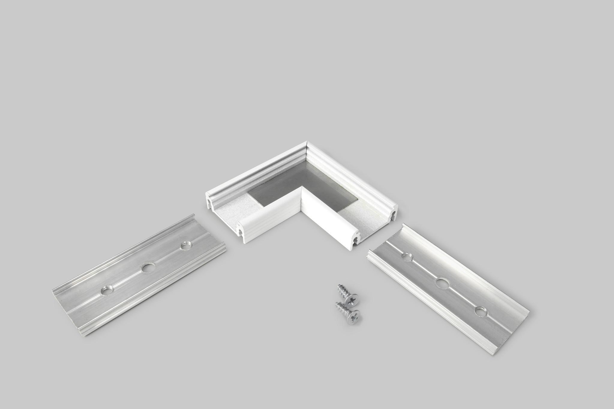 Hoek connector voor opbouw profiel wit