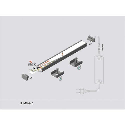 TOPMET Aluminium opbouw profiel SLIM voor 8mm strips 1 meter Slim8