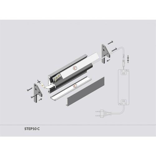 TOPMET Aluminium LED Profiel 1 meter voor traptreden STEP10