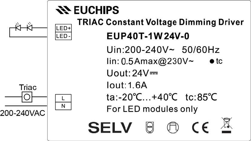 Euchips Triac driver 40W 24V aansluitschema