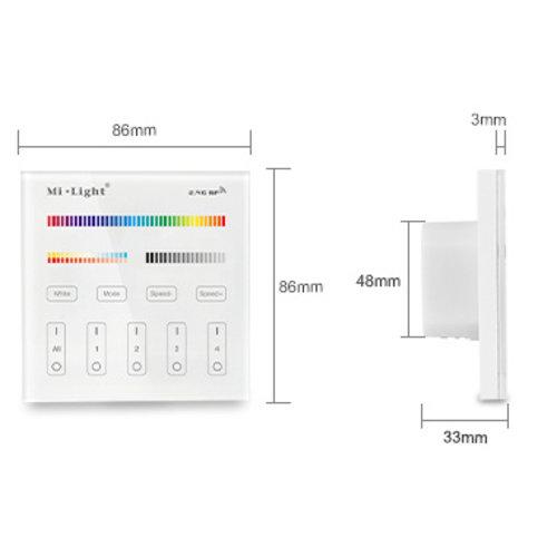 Milight / MiBoxer Draadloos 2,4Ghz Inbouw Wandpaneel 230 Volt 4 Zone RGB+CCT