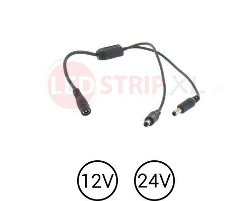 LEDstrip DC voeding splitter 1 x female naar 2x male voor 12 en 24 Volt