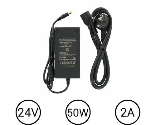 24 Volt LEDStrip Voedingsadapter 2 Ampere Transformator
