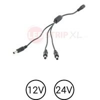 LEDstrip DC voeding splitter 1 x female naar 3x male voor 12 en 24 Volt