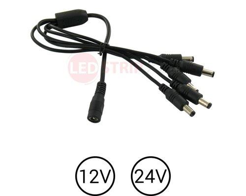LEDstrip DC voeding splitter 1 x female naar 5x male voor 12 en 24 Volt