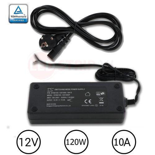 DYS LEDstrip voedingsadapter 12V - 10A – 120 Watt - TÜV keurmerk - Efficiëntielevel 5