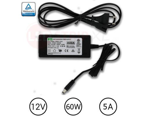 DYS LEDstrip voedingsadapter 12V - 5A – 60 Watt - TÜV keurmerk - Efficiëntielevel 5