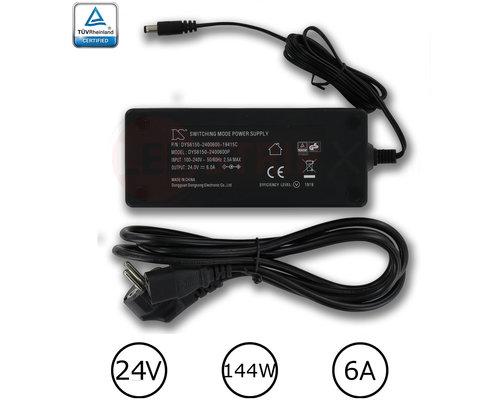 DYS LEDstrip voedingsadapter 24V - 6A – 144 Watt - TÜV keurmerk - Efficiëntielevel 5