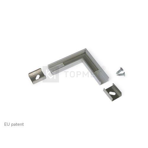 TOPMET 90 graden hoek connector voor Topmet SLIM8 opbouw profiel 8mm