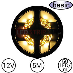 LEDStrip Warm Wit 5 Meter 60 LED 12 Volt - Basic