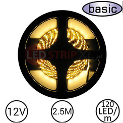 LEDStrip Warm Wit 2,5 Meter 120 LED 12 Volt - Basic