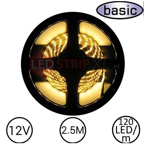 LEDStrip Warm Wit 2,5 Meter 120 LED per meter 12 Volt - Basic