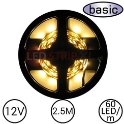 LEDStrip Warm Wit 2.5 Meter 60 LED 12 Volt - Basic