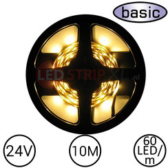 LEDStrip Warm Wit 10 Meter 60 LED 24 Volt - Basic