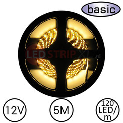 LEDStrip Warm Wit 5 Meter 120 LED 12 Volt - Basic